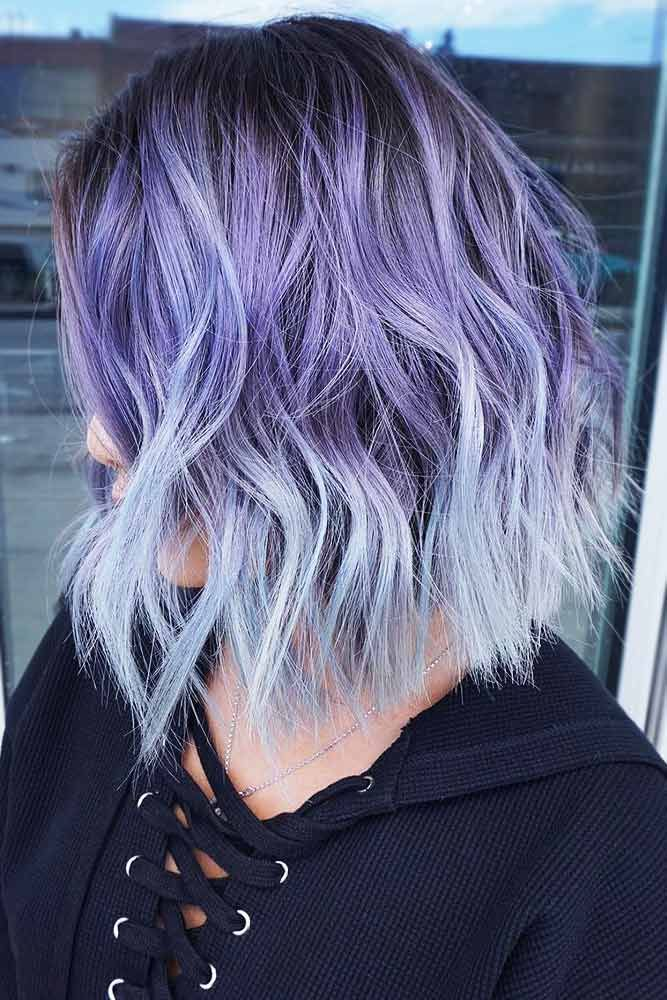 Purple With Ashy Blue Ends #brunette #purplehair #bluehair ❤️ Purple and bla...