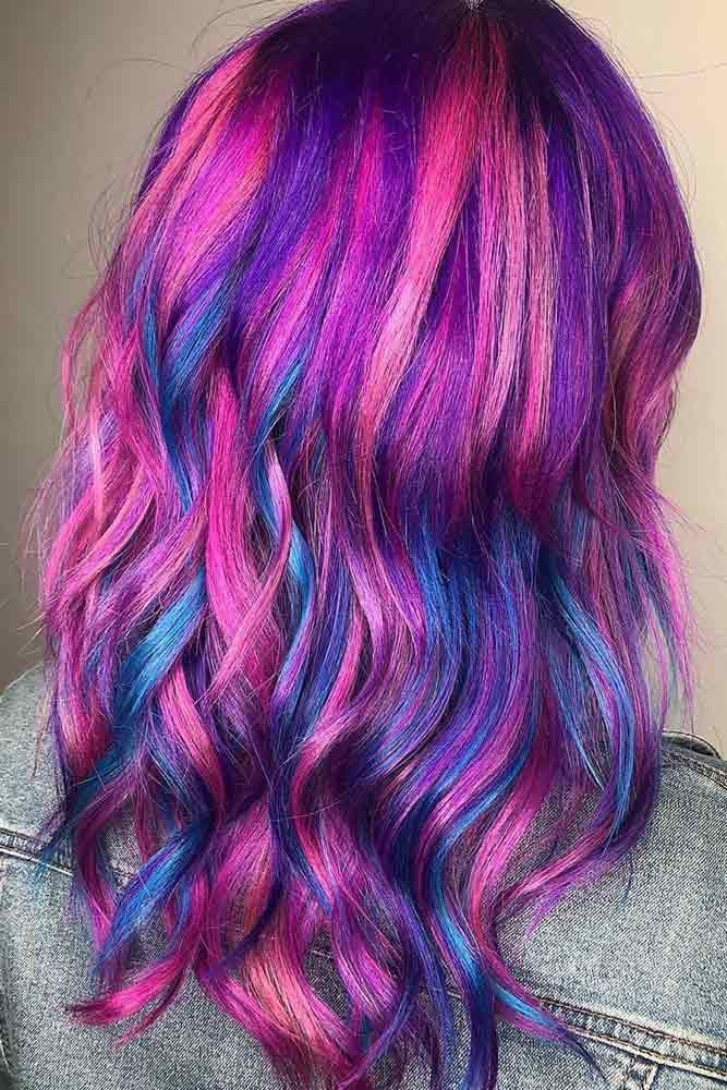 Purple With Blue Highlights #perplehair #bluehair #highlights ❤️ Purple and ...