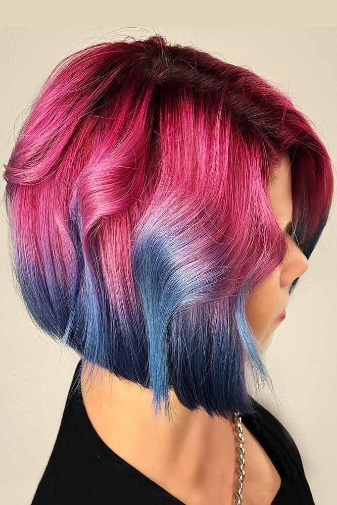 Purple With Dark Blue Ends #purplehair #bluehair ❤️ Purple and blue hair hai...