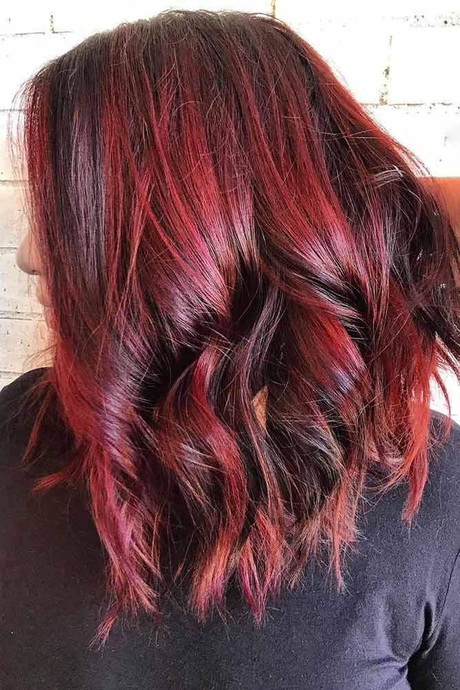 Red Wine Highlights #redhair #brunette #highlights ❤️ Want to spice up your ...