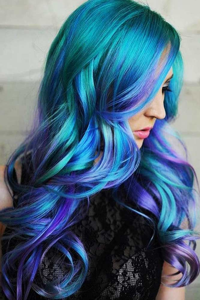Teal With Purple Ends #tealhair #purplehair ❤️ What can compare to the gorge...