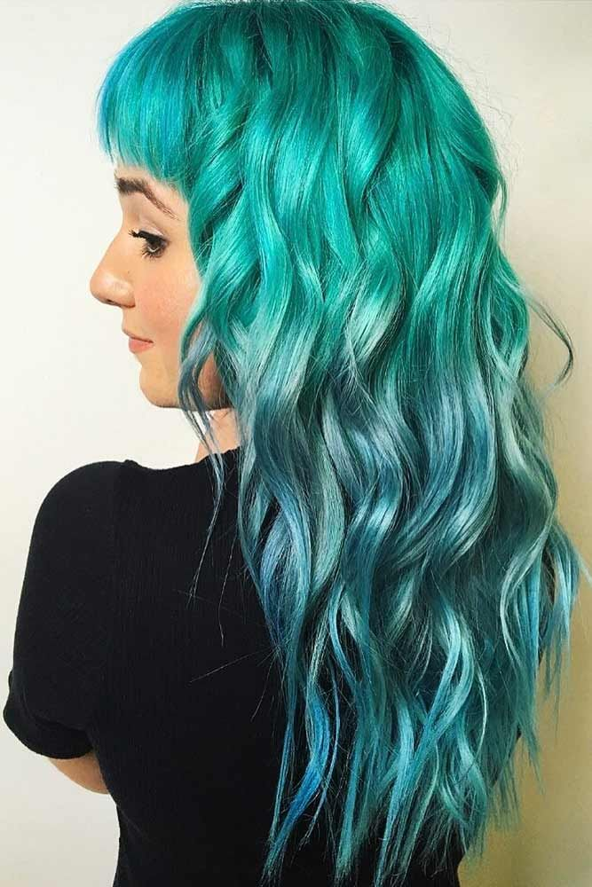 Teal With Sky Blue #tealhair #bluehair #ombre ❤️ What can compare to the gor...