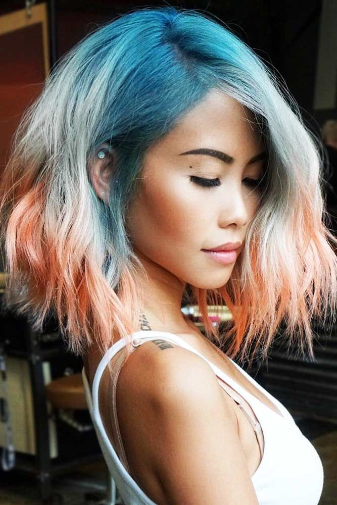 Triple Coloring With Strawberry Blonde Blue #strawberryblonde #bluehair ❤️ S...