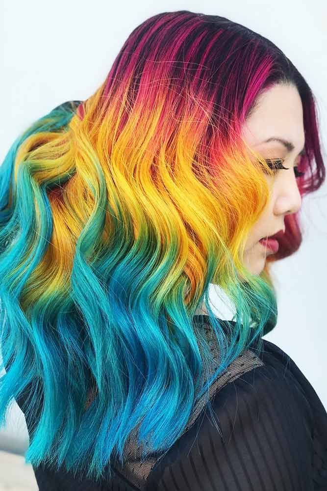 Yellow With Teal And Pink #tealhair #pinkhair #brunette ❤️ What can compare ...