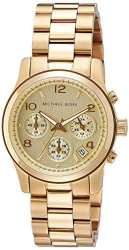 Michael Kors Midsized Chronograph Gold Tone Womens Watch MK5055 *** See this gre...