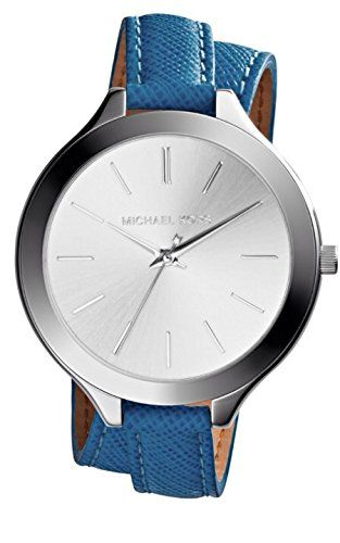 Michael Kors Mk2331 Double Wrap Blue Leather Watch *** Details can be found by c...