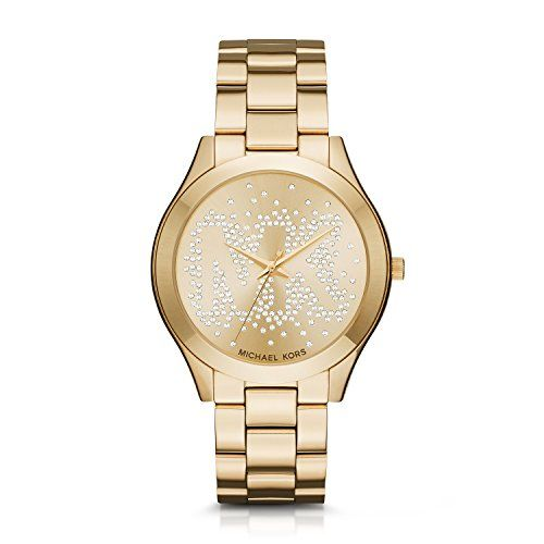 Michael Kors Women's Slim Runway Logo Gold-Tone Watch MK3590 *** Want additi...