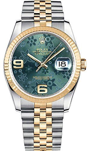 Rolex Datejust 36 Floral Green Dial Jubilee Bracelet Men's Watch 116233 -- C...