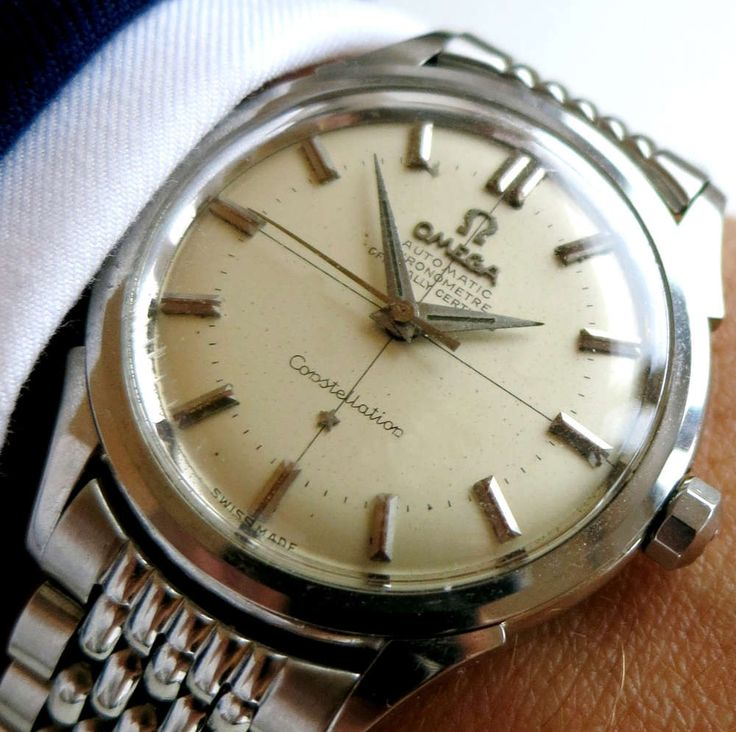 Omega Constellation with crosshairs dial and steel bracelet