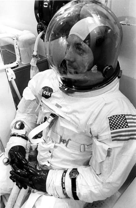 US Astronaut Jack Swigert with Omega Speedmaster prior to the Apollo 13 launch.