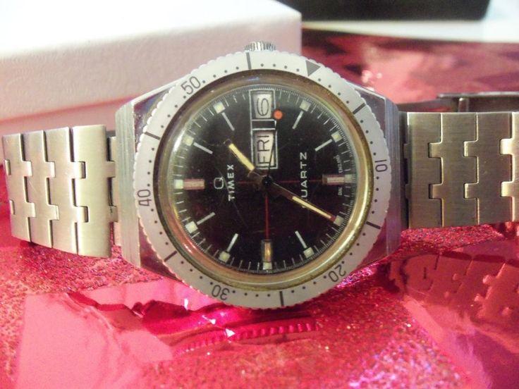 Vintage Men' 1970S Timex Q Electronic Quartz Diver 06679-58369 Dial ENGLAND RARE...