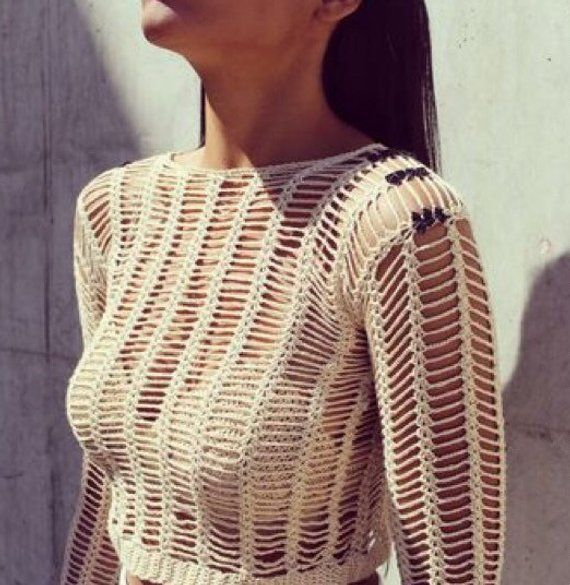 Crochet Fishnet Crop Top, Long Sleeve Top, Crochet Sweater, Women Top.