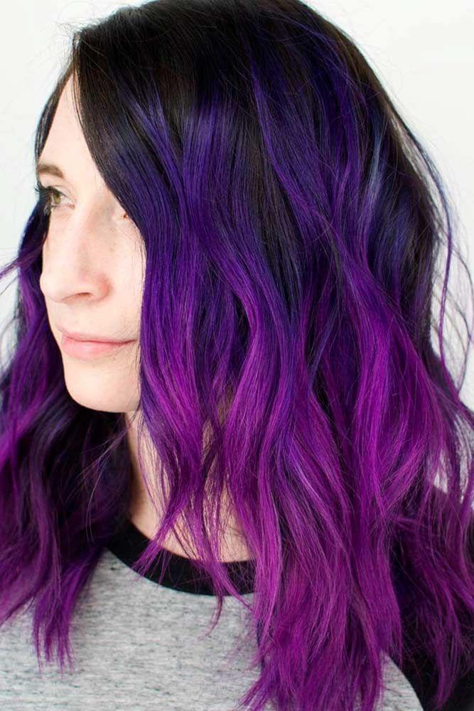 Bright Purple Hair Brunette #purplehair ❤️ When you think about purple hair,...