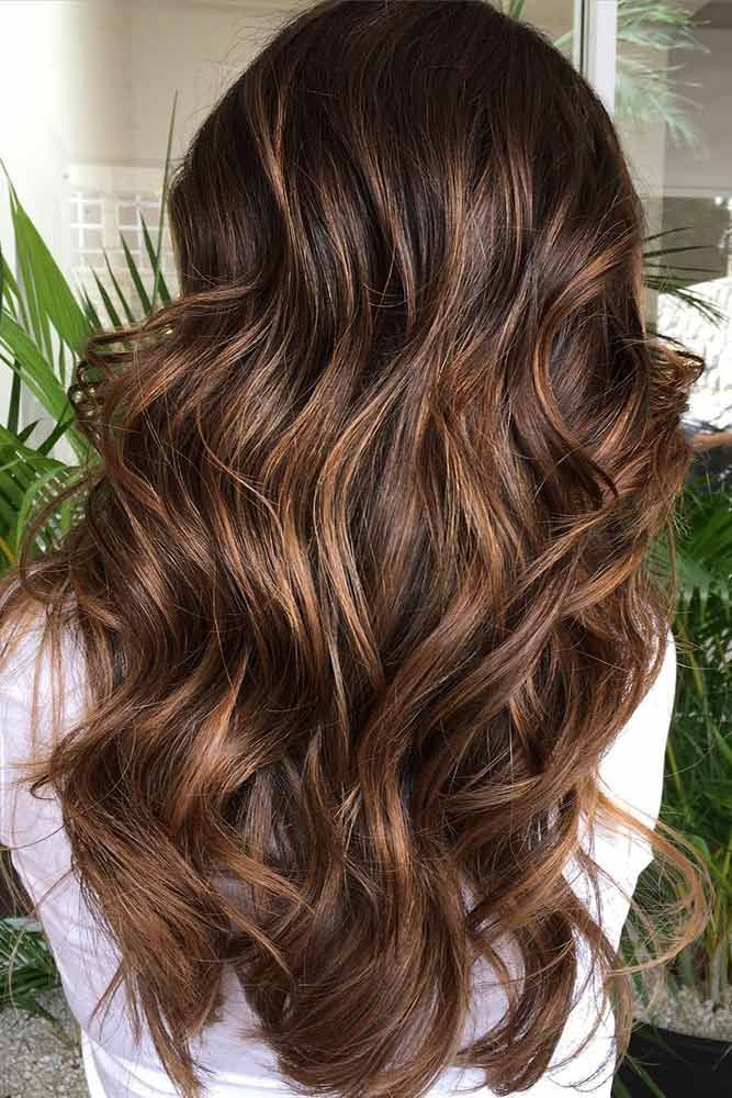 Caramel Brown Hair Balayage  ❤️ Dark brown hair color looks very mysterious,...