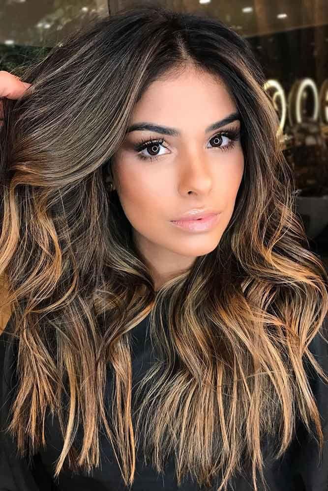 Caramel Brown Hair Highlgiths ❤️ Dark brown hair color looks very mysterious...
