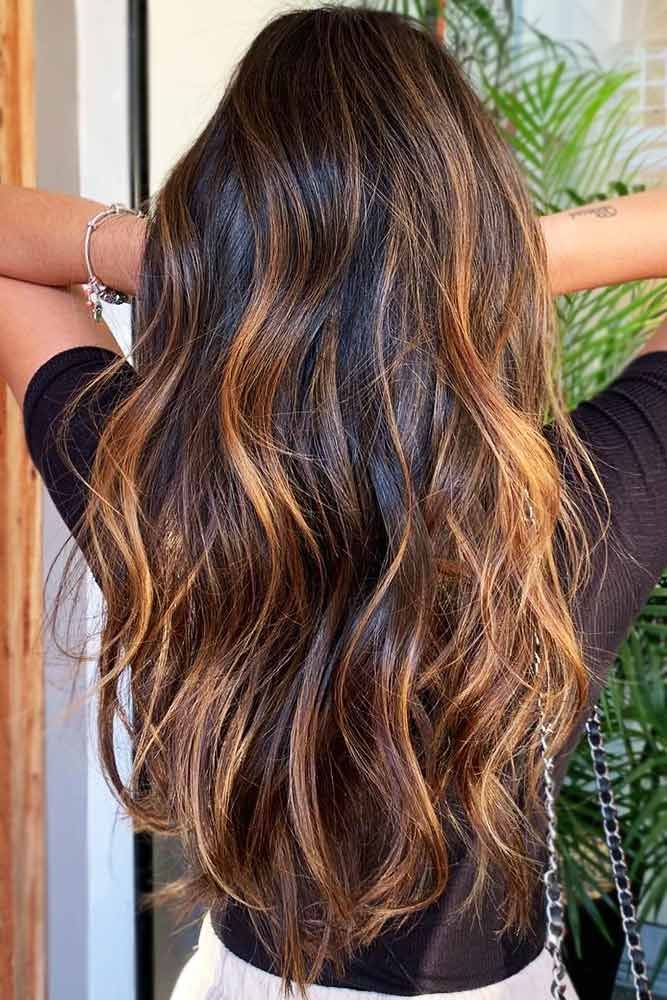Copper Highlights On Brown Hair #brunette #highlights ❤️ Upgrade your plain ...