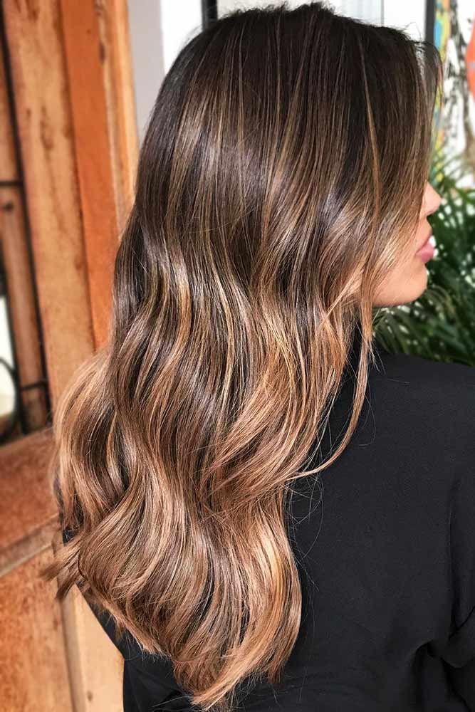 Dark Brown Hair With Honey Caramel Highlights #brownhair #highlights  ❤️ Dar...