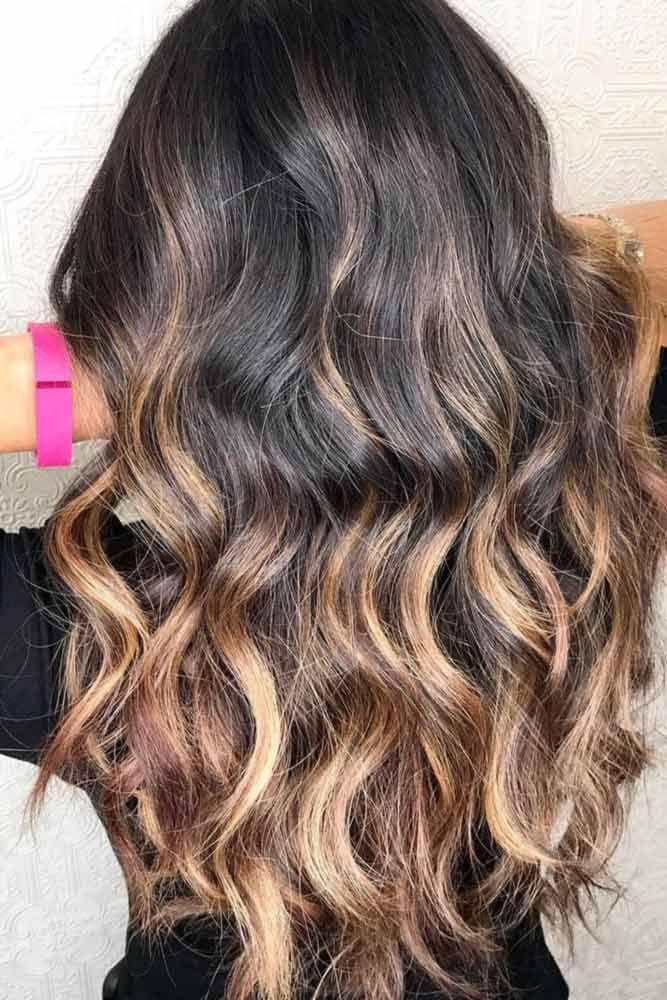 Dark Brown Hair With Honey Highlights  ❤️ Dark brown hair color looks very m...