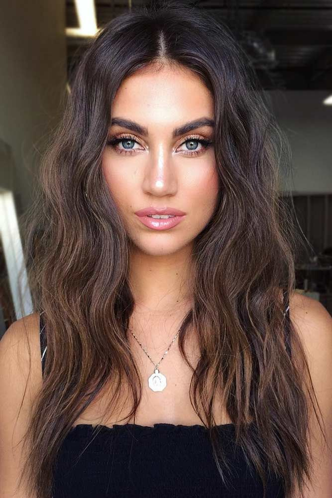 Dark Chocolate Brown Hair Ideas Messy #longhair #wavyhair #messyhair #brownhair ...