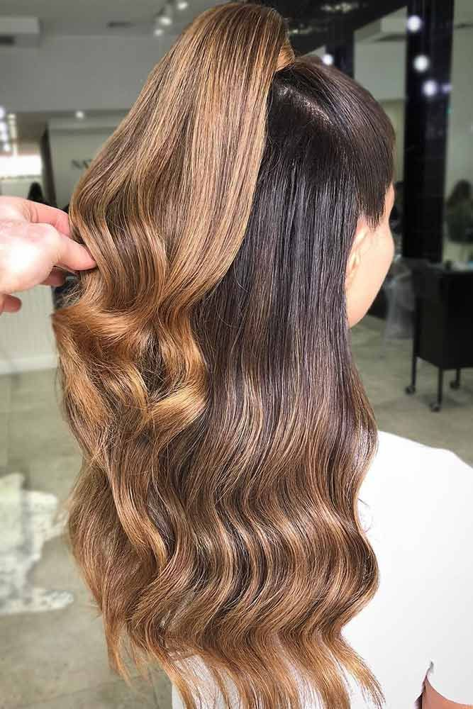 Dark To Light Brown Ideas Ponytail #longhair #wavyhair #brownhair #ombre ❤️ ...