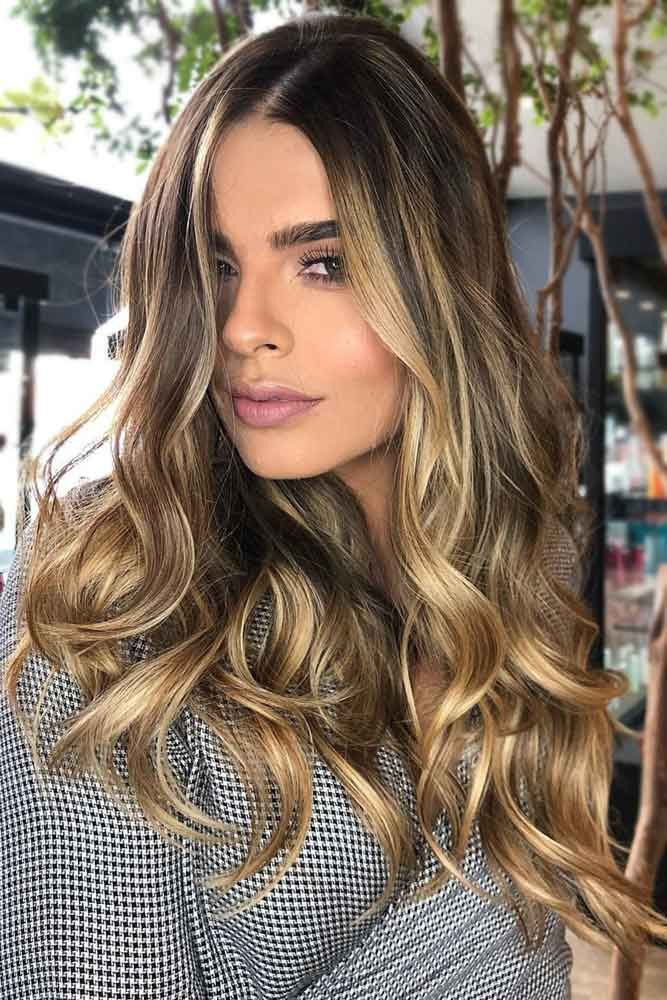 Face Framing Gold Balayage For Brunette Hair ❤️ Brunette hair often gets a b...