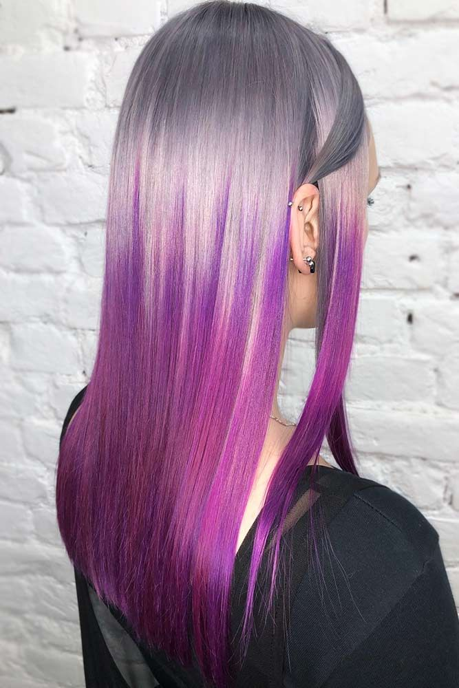 Grey To Violet #unicornhair #ombre ❤️ Unicorn hair is a new trend that needs...