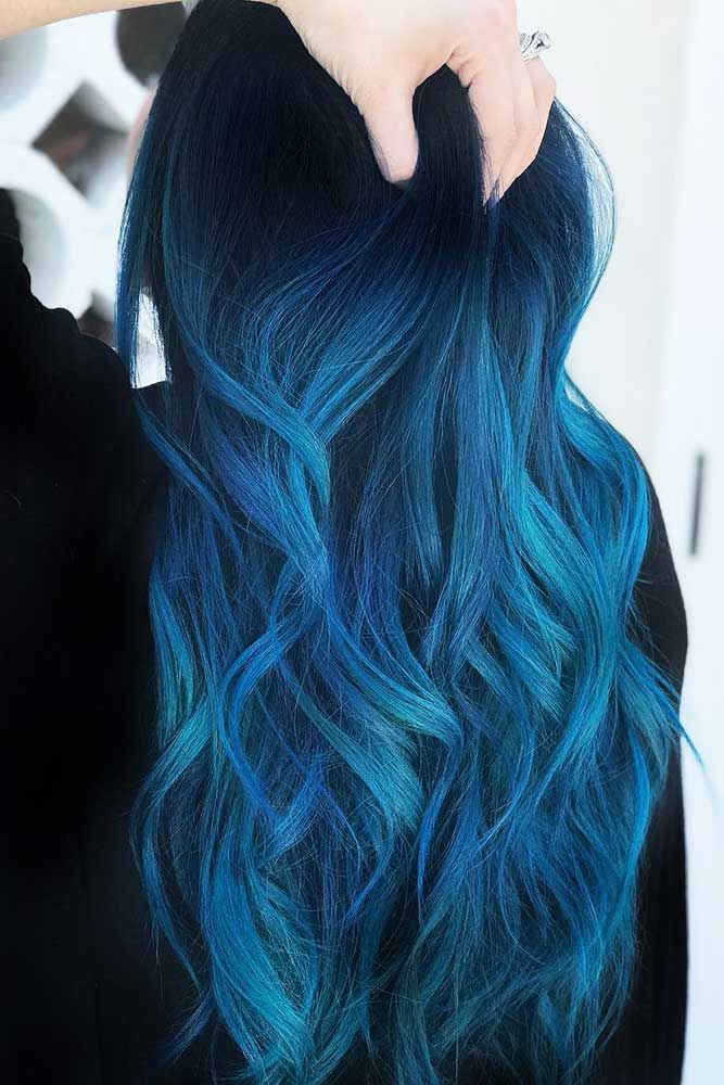 Indigo Blue Black #bluehair #ombre #brunette ❤️ Blue black hair color has be...