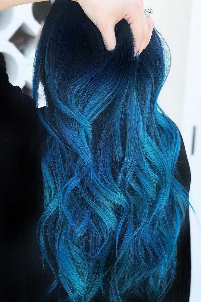 Indigo Blue Black #bluehair #ombre #brunette ❤️ Blue black hair color has be...