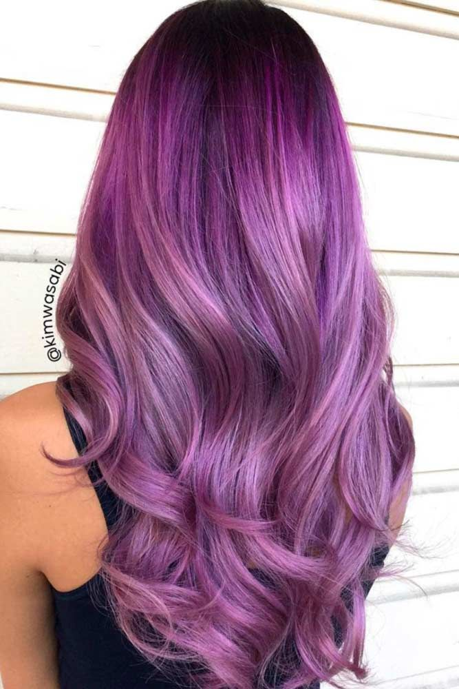 Popular Brunette Violet Hair Color #purplehair ❤️ When you think about purpl...