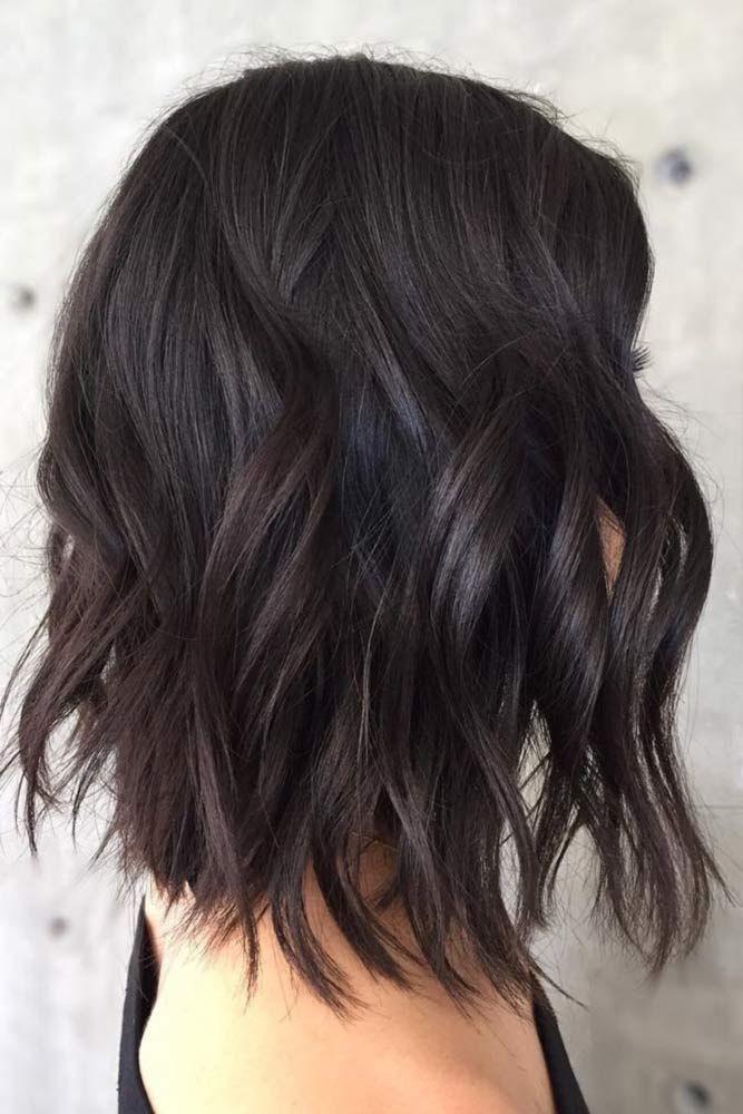 Solid Dark Brown Colored Bob   ❤️ Dark brown hair color looks very mysteriou...