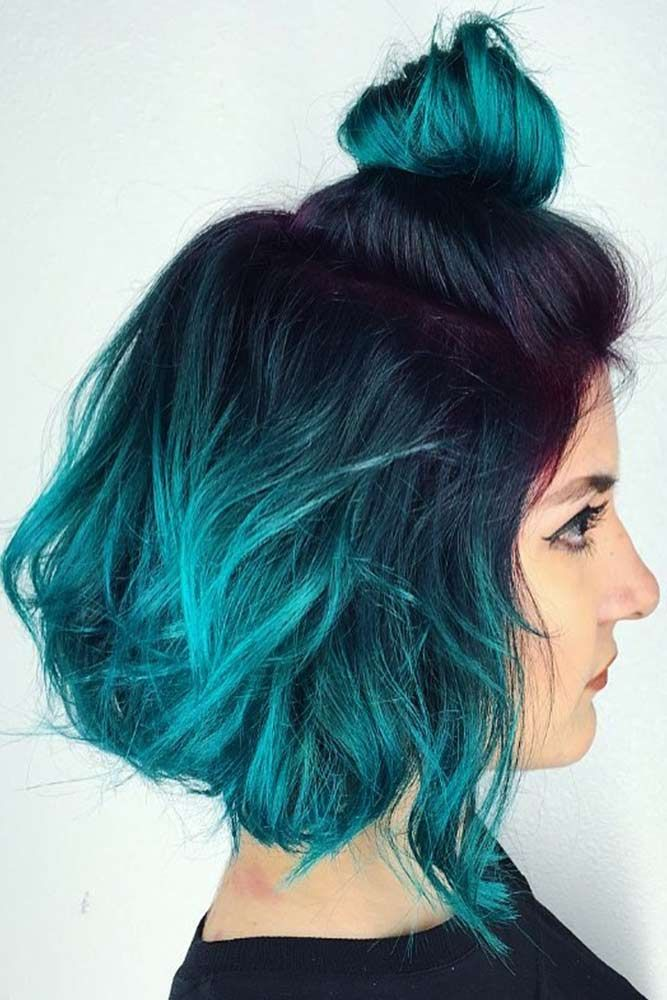 Teal Ombre For Brunettes #tealhair #brunette #ombre ❤️ What can compare to t...
