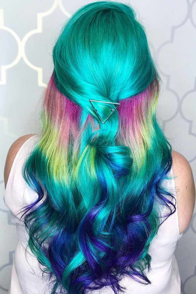 Teal Rainbow #tealhair #rainbowhair ❤️ What can compare to the gorgeous char...