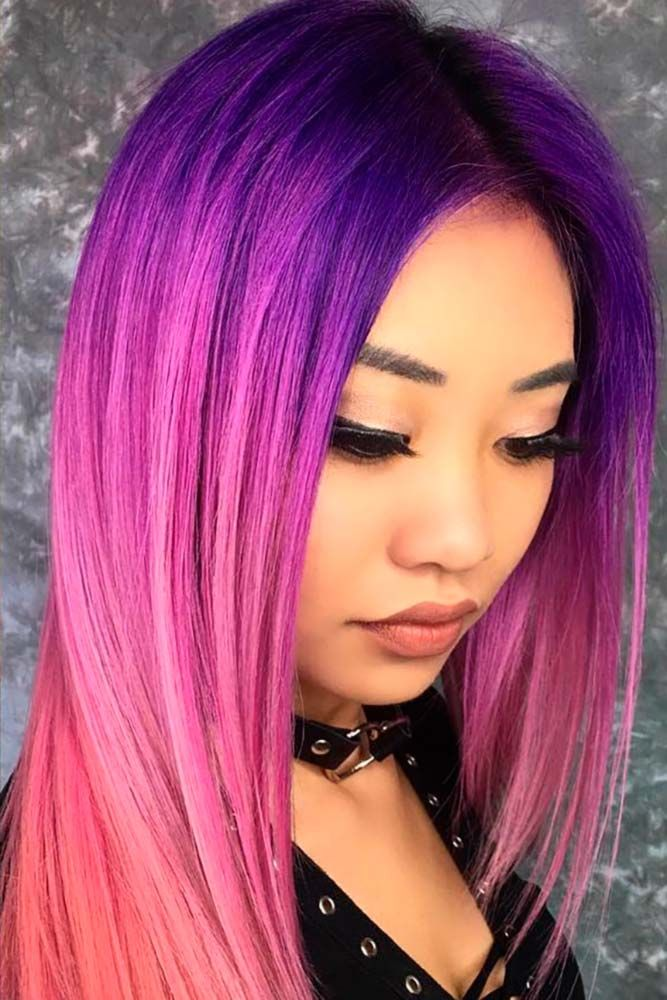 Violet Fuchsia Ombre In A Mix With Other Colors #purplehair ❤️ When you thin...