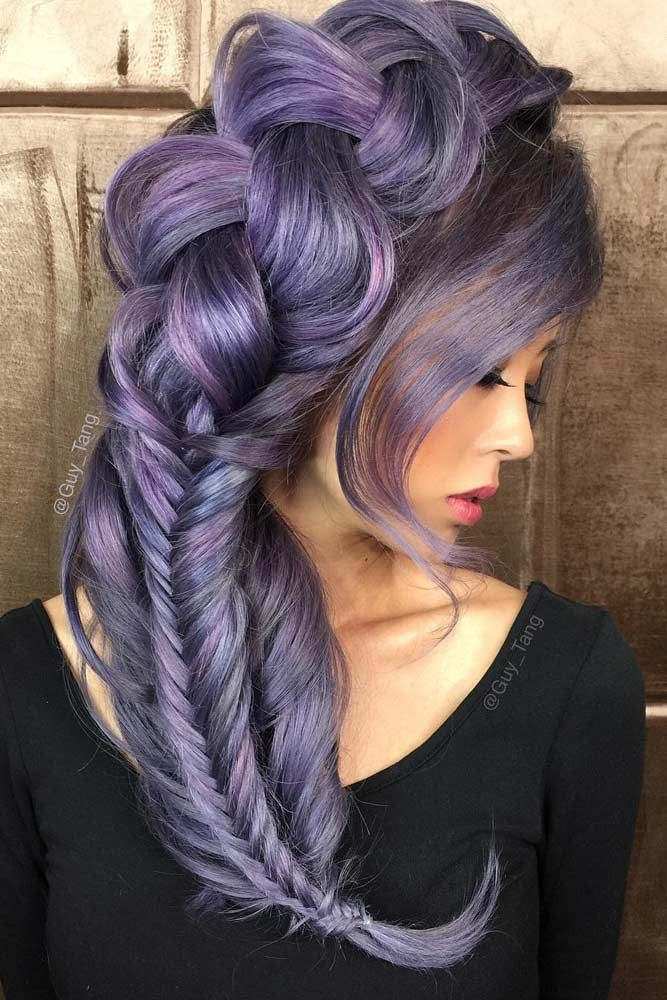Violet Hair Color With Dutch Braids #purplehair ❤️ When you think about purp...