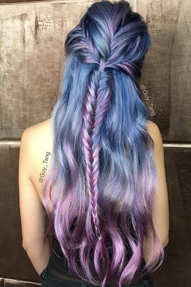 Violet Hair Color With Fishtail Braids #purplehair ❤️ When you think about p...
