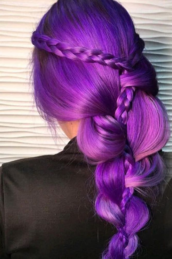 Violet Hair Color With Stacked Braids #purplehair ❤️ When you think about pu...