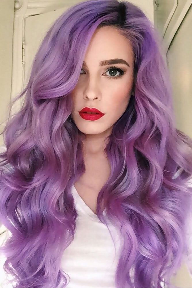 Violet Lavender Ombre Hair Color #purplehair ❤️ When you think about purple ...
