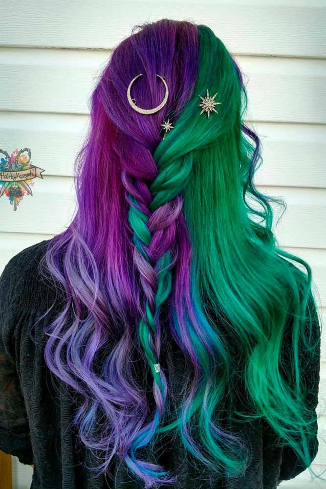 Violet Ombre Green In A Mix With Other Colors #purplehair ❤️ When you think ...