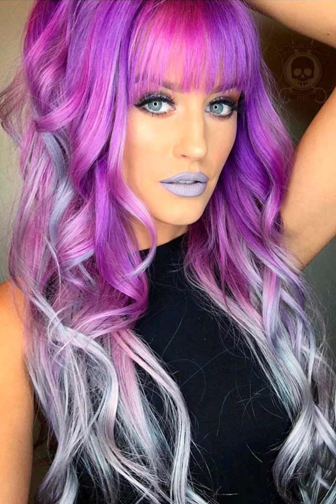 Violet Silver Ombre In A Mix With Other Colors #purplehair ❤️ When you think...