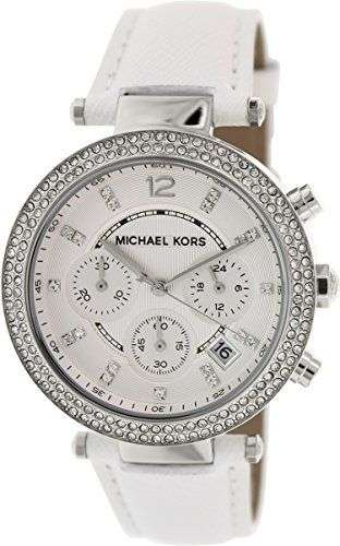 Michael Kors Womens Chronograph Parker White Leather Strap Watch 39mm Mk2277 -- ...