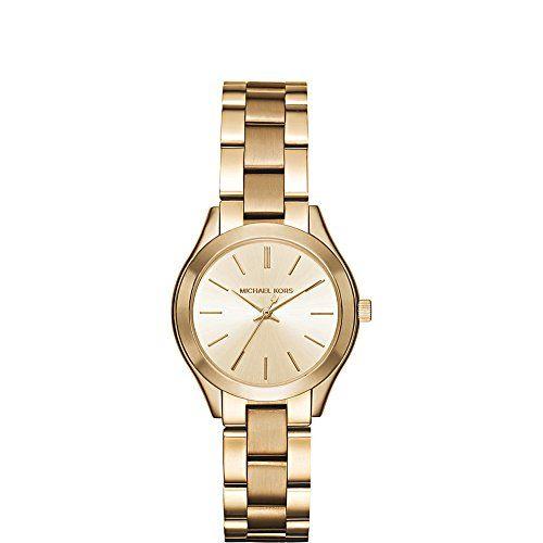 Michael Kors Womens Mini Slim Runway GoldTone Watch MK3512 -- Continue to the pr...