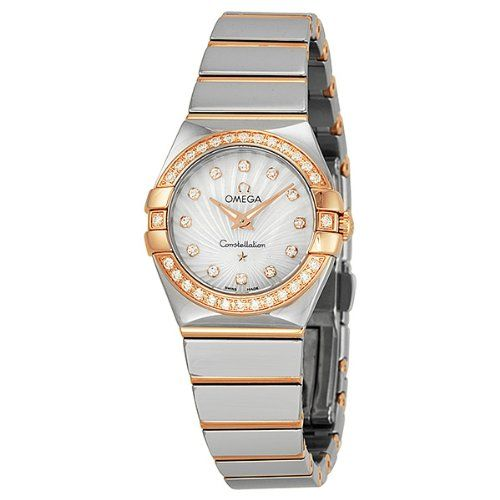 Omega Constellation Mother of Pearl Diamond Dial Steel and Rose Gold Ladies Watc...