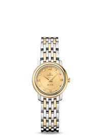 Omega De Ville Prestige Champagne with Diamonds Dial Ladies Watch 42420246058001...
