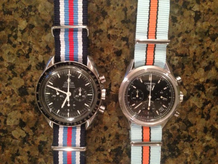 Omega Speedmaster and TAG Heuer Carrera re-edition with NATO straps