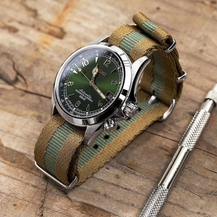 Wednesday with #MiLTAT Sandwich NATO strap on Seiko Alpinist SARB017 #strapcode #iwantstrapcode