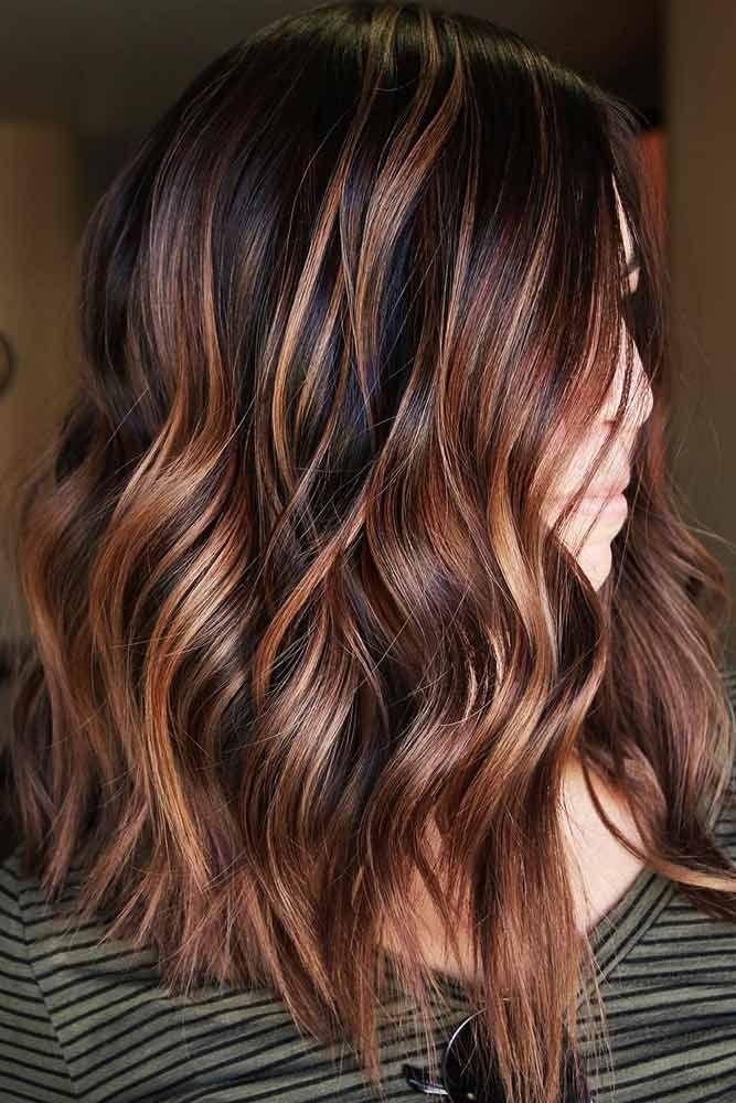 Dark Brown Hair Color With Red Copper Locks #brownhair #redhair #brunette  ❤...