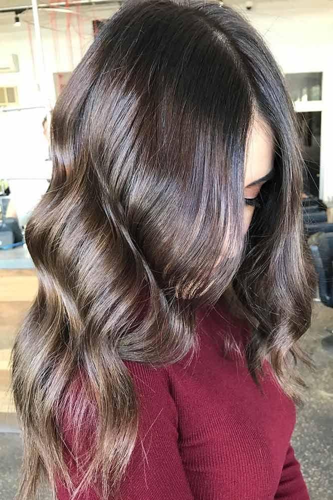 Warm Dark Brown Hair ❤️ Dark brown hair color looks very mysterious, and it...