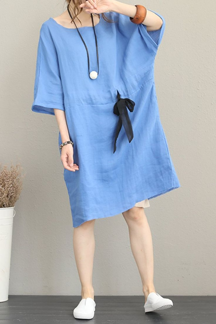 Fashion Drawstring Linen Dresses Women Casual Clothes Q1168