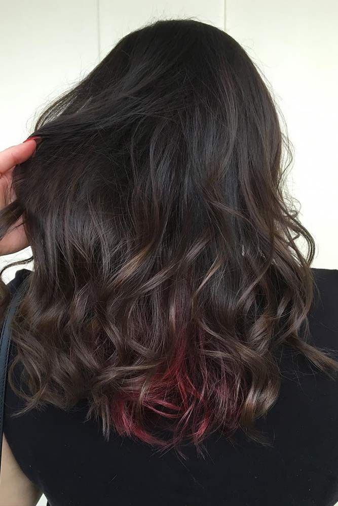 Dark Brown Hair Color With Red Locks  ❤️ Dark brown hair color looks very my...