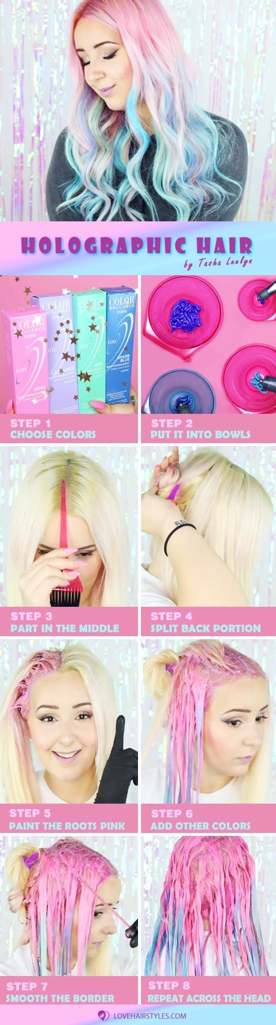 How To Get Holographic Hair: A Little Magic Tutorial #hairtutorial #holographich...